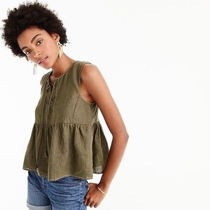 Point Sur tall tie front linen top olive green